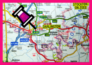 Image of Town Centre map showing #ZoomRoomDarlington location on Ring Road, and A1M motorway junctions