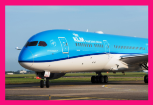 Image of KLM jet at Teesside International Airport, a 20 minute taxi ride from global video conferencing at #ZoomRoomDarlington